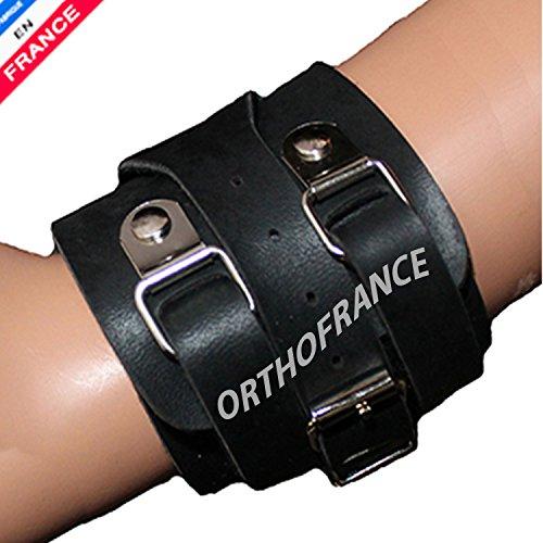 Serre poignet cuir - Poignet de force cuir ORTHOFRANCE pour poignet de - 17 à 20 cm