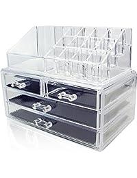 Amzdeal Rangement Maquillage Vanity case Coffrets Bijoux Présentoire Cosmétiques 6 Tiroirs Boîte de Rangement Case à 3 Étage (16 emplacements - Acrylique transparent)