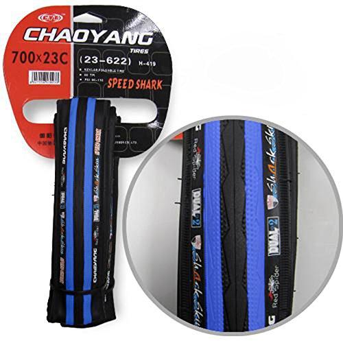 Cubierta Color Negro y Azul Antipinchazos Neumatico Rueda de Carretera de 700 x 23C Bicicleta 2882az_1