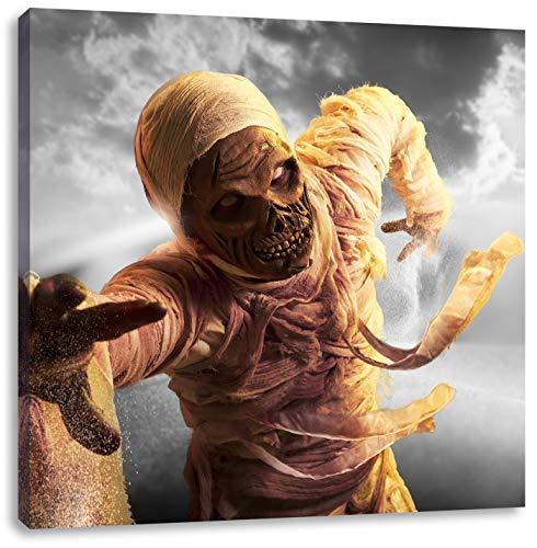 Ägypten Kostüm Des Alten - hungrige Mumie greift an schwarz/weiß, Format: 40x40 auf Leinwand, XXL riesige Bilder fertig gerahmt mit Keilrahmen, Kunstdruck auf Wandbild mit Rahmen, günstiger als Gemälde oder Ölbild, kein Poster oder Plakat