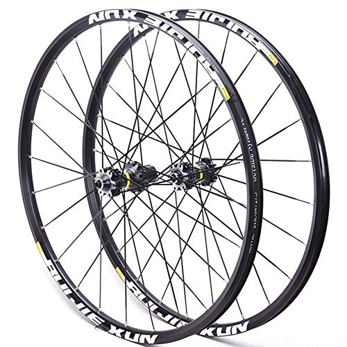 "LHLCG Mountain Bike Wheel Set Aluminum Alloy Ultralight Wheels Black Spokes Blacks Circle,BlackFlowerdrum,26\"""