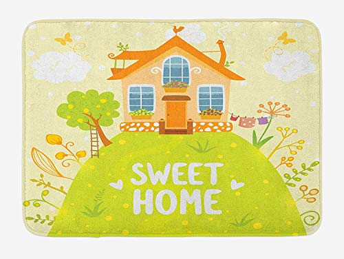 CHKWYN Home Sweet Home Bath Mat, Cartoon Style Cottage Hut on Green Hilltop with Flourishing Garden Morning, Plush Bathroom Decor Mat with Non Slip Backing, 23.6 W X 15.7 W Inches, Multicolor