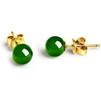 19bd968a1 Dalwa Stud Earrings for Women 925 Sterling Silver Earrings with Gemstones  Dark Green Jade in Gift Box
