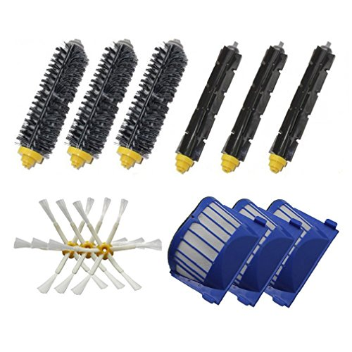 Ularma 3X brosses à poils+3X Flexible Beater Brushes+3 X6-Armed Side Brushes Pour iRobot Roomba 600 Series Aspiration Robots