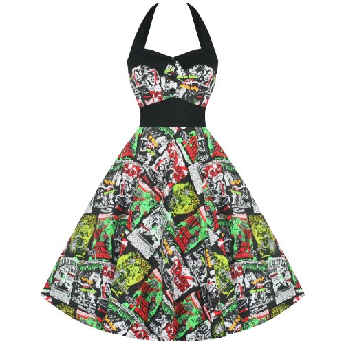 Hell Bunny Damen Kleid Grün grün - Fit-n-flare Dress