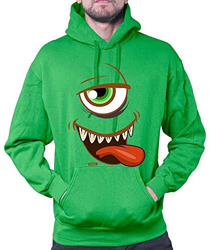 HARIZ Herren Hoodie Monster Gesicht Zunge Karneval Kostüm Inkl. Geschenk Karte Grün S