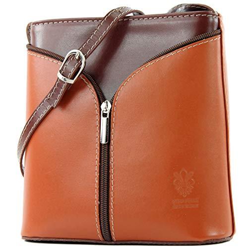 Leder Mini Handtasche (modamoda de - ital Kleine Umhängetasche aus Leder D19, Farbe:Cognac/Braun)