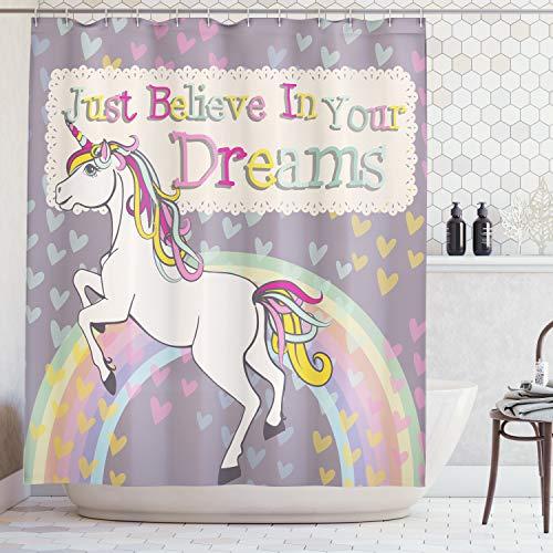 ABAKUHAUS Jovencitas Cortina de Baño, Figura de Unicornio con Frase Inspiracional Cree en Tus Sueños Ilustración, Material Resistente al Agua Durable Estampa Digital, 175 x 200 cm, Beige