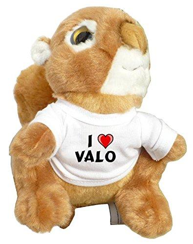 Preisvergleich Produktbild Personalisiertes Eichhörnchen Plüsch Spielzeug mit T-shirt mit Aufschrift Ich liebe Valo (Vorname / Zuname / Spitzname)