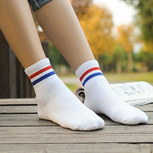 Tookie gestreift Sport Socken, 1Paar Casual atmungsaktiv antibakteriell Herren Frauen Socken lang gestreift Business Gym Fußball Socken, Weiß mit rotem Streifen -