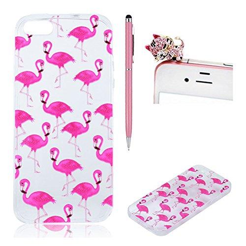 SKYXD Fall für iPhone 5 / 5S / SE entworfen mit rosa Flamingo Muster transparentes kristallklares ultra dünnes TPU Silikon iPhone 5 / 5S / SE rückseitige Abdeckungs-Haut + 1 - Iphone 5 Interessante Fall