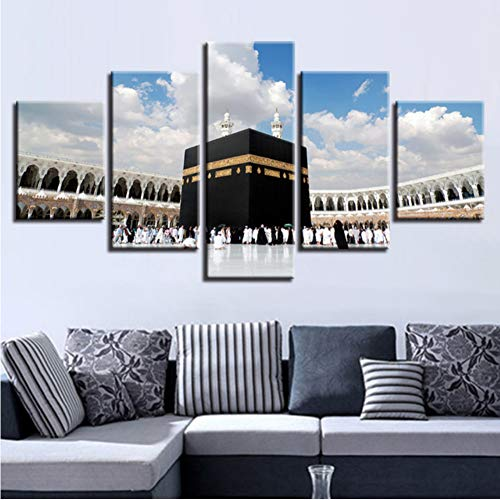 zlxzlx (Kein Rahmen) Modulare Leinwand Gemälde Wohnkultur 5 Stücke Islamischen Muslim Islam Religiöse Hajj Runde Poster Wandkunst Hd Druckt Bilder