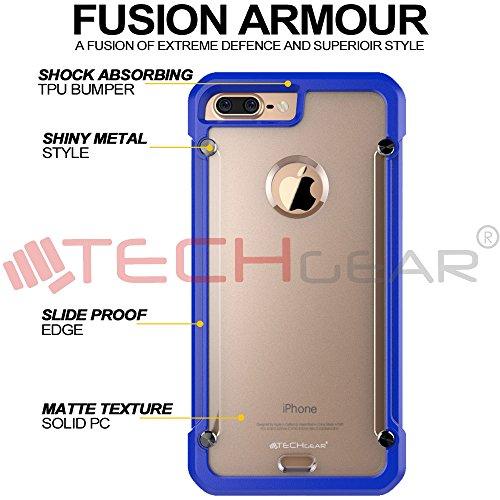 Coque Apple iPhone 7 Plus, TECHGEAR® iPhone 7 Plus (5.5 Pouces) [FUSION ARMOUR] Coque Protective Svelte Anti-Choc (Noir Entier) Bleu/Givré (FUSION ARMOUR)