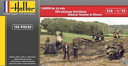 "Heller 81102 - Modellbausatz ""CANON DE 25mm+GNOME et RHONE+HOTCHKISS"""