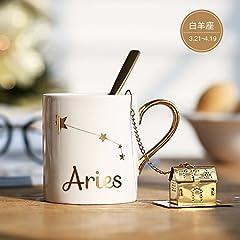 Idea Regalo - MOCER Il giorno di San Valentino idee regalo natale Zodiaco dorato tazza ceramica amanti Cup inviare ragazze regalo di compleanno, Ariete