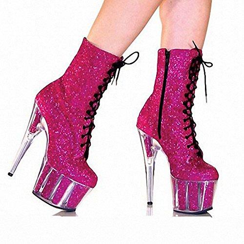 viola Heel 5in moda Ruby Sera Lace Donna Stivali up Silver Zipper scintillanti Stivali Stiletto AMP; nero Glitter argento Fuchsia inverno WIKAI Party qOfaHw