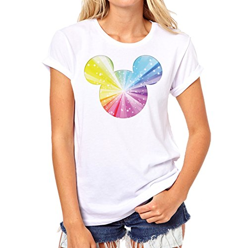 Mickey Mouse Disney Dope Icon Swag Colour Rainbow Inside Damen T-Shirt Weiß