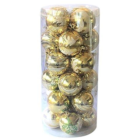 Lot de 24décorations de Noël décoration festive Balle suspendue Accessoires de jardin et patio–Pendentif Mixte–Branches de sapin de Noël pour décoration intérieur ou extérieur Fêtes baoyunyu