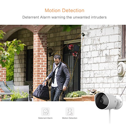 YI Outdoor Surveillance Camera, 1080P HD Wireless Security Bullet Camera  Weatherproof IP Camera System with Two-Way Audio, Night Vision, Motion