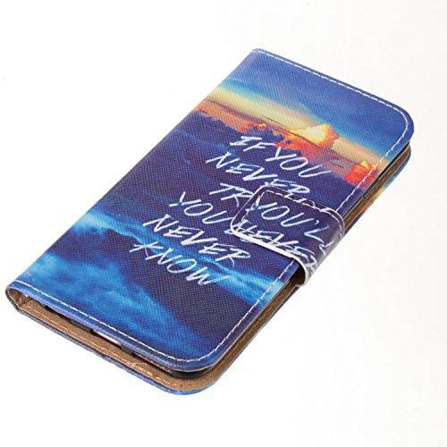 Ooboom® iPhone 5SE Coque PU Cuir Flip Housse Étui Protecteur Cover Case Wallet Portefeuille Rabat Fonction avec Carte de Crédit Fentes pour iPhone 5SE - Pissenlit Amour Try