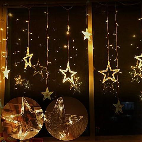 Diolumia - Guirlande Lumineuse LED 2m 12 étoiles - 138 LEDs Blanc chaud - Fil en Cuivre -Extérieur et Intérieur pour Fêtes , Noël, Mariages, Célébration Festival, Soirée, Anniversaire, Fenêtres - 220V