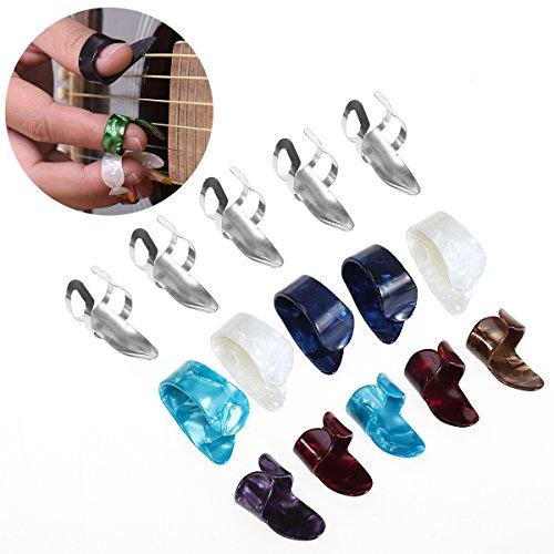ultnice Spitzen Gitarrenstimmgerät Finger Daumen-D ultnice 15pcs von Edelstahl mit der Box-Speicher-15Fall Grillrost