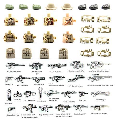 NUTTO Guerra Moderna. Fuerza del Medio Oriente. Equipo de Arma y Soldado y Torso del Soldado Compatible con los Juguetes Importantes de Las Insignias de la construcción