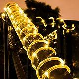 LED Lichterkette,KINGCOO Wasserdicht 39 ft 12 m 100 LED führt zu Energie Solar Schlauch Soft Tube Rope Kupferdraht, Weihnachten, Zimmerdecke-Lichter für die Hochzeit Outdoor Garden Party(warmWeiß)