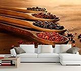 BZDHWWH Benutzerdefinierte Gewürze Löffel Essen Wandbild Tapete 3D Esszimmer Esszimmer Sofa Tv Wand Küche Tapete Für Wände 3D,330cm(W) x 210cm(H)