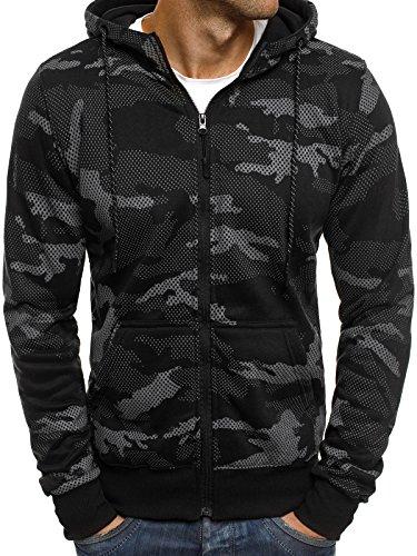 OZONEE Herren Sweatshirt Kapuzenpullover Langarmshirt Pullover Camouflage Sweats Pulli J.STYLE DD131 SCHWARZ M