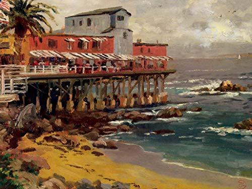 Toperfect 50-2000 € - Durch Kunstakademielehrer von Hand gefertigte Ölgemälde - EIN Blick von Cannery Row Monterey Thomas Kinkade Trestle Strand - Gemälde auf Leinwand -Maße06