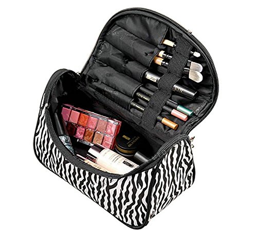 Kanggest Bolsa de Cosméticos de Viaje del Maquillaje Bolso de Rayas negras de cebra Grandes Multifunción Mujer Portáti Cremallera Organizador Almacenamiento Bolso de Lavado de Viaje