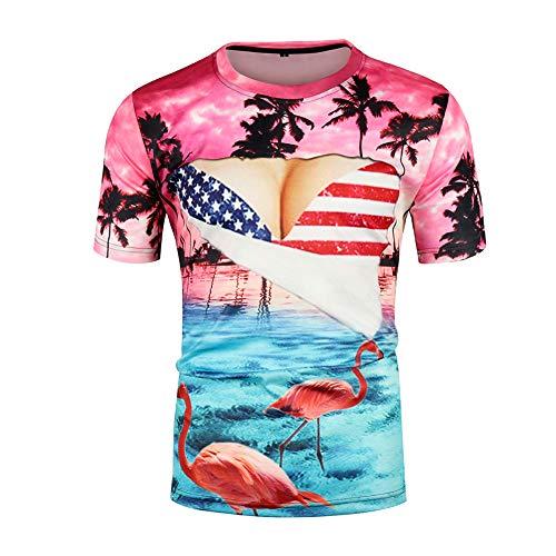CJF Été Unisexe Manches Courtes, Manches Courtes 3D à Gros Seins, T-Shirt décontracté d'été personnalisé, T-Shirt à col Rond drôle, pour Les Hommes et Les Femmes,Multicolored,XS