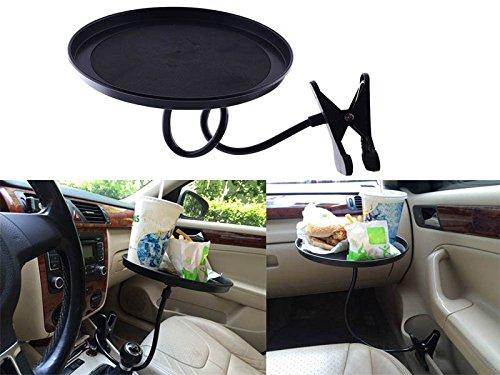 Sedeta® Car Pivotant Plateau Bac de Rangement 360 degrés pivotant Alimentaire Table avec Clip Convient à la Plupart des véhicules Porte-gobelet Stable OEM