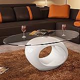Couchtisch Weiß Kaffeetisch Oval Beistelltisch Glas 115 x 65 x 40 cm