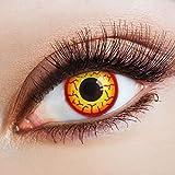 aricona Farblinsen – deckend mit gelb rotem Horror Muster – farbige Kontaktlinsen mit FUN Motiv – bunte, farbig intensive gelb rote Jahreslinsen für Halloween & Karneva