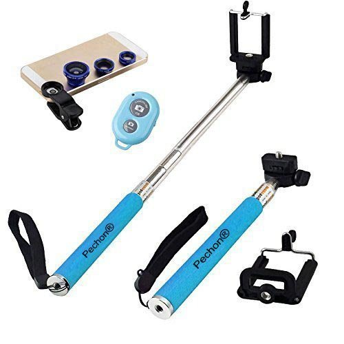 Portrait-kit Self (Pechon Blau Universal-Clip-on 180 Grad-Fisch-Augen-Objektiv + Weitwinkelobjektiv + Makroobjektiv 3-in-1-Kit + Self Portrait Self Schuss Einbeinstativ Selfie Stock mit Handyhalter + Bluetooth Remote Camera Wireless Shutter f¨¹r Apple iPhone 6.6 Plus / 5 / 5S / 5C / 4 / 4S, iPad Air / iPad 234 / iPad Mini, Tablet PC, Laptops, Samsung Galaxy S5 / S4 / S3 / S2 / Hinweis 3 / Hinweis 2, HTC ONE M8, Blackberry Bold Touch, Sony Xperia, Motorola Droid und Weitere Smartphones)