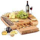 Planche à fromage en bambou naturel et plateau à charcuterie avec tiroir caché pour couverts - Idée cadeau parfaite pour anniversaire, mariage, pendaison de crémaillère, maman