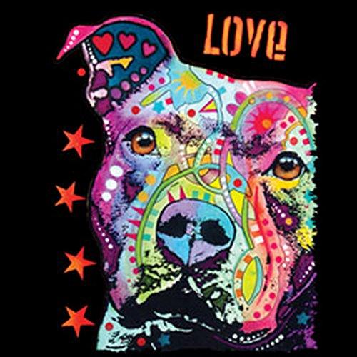 Hunde-Neon/Damen/Girlie-Shirt mit Dog-Neon - Motiv: Thoughtful Pit Bull - cooler Look für Hundefreunde Schwarz