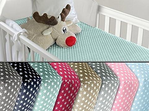 Baumwoll-Spannbetttuch für Kinder - kindgerechtes Design mit Sternen im Alloverdesign - erhältlich in 8 Farben kombiniert mit weißen Sternen und 3 Größen - Steghöhe ca. 20 cm, 90 x 200 cm,