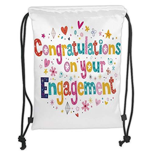 LULUZXOA Gym Bag Printed Drawstring Sack Backpacks Bags,Engagement Party Decorations,Festive Congratulations Theme Hearts Spots Floral Detail Print, - Floral Spot