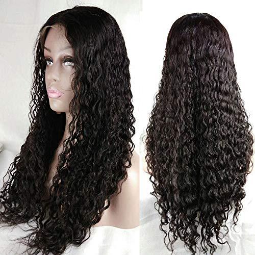LEOMI Longue Bouclée Brésilienne Vierge Perruques de Cheveux Humains En Dentelle Pour Les Femmes Noires Avec Des Cheveux De Bébé Naturel Noir 150% Densité