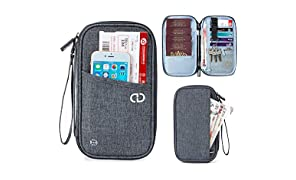 dayday Travel Wallet Organiser with RFID Blocking. Perfect Passport Holder for Women & Men. Made of Nylon & Soft Cotton Blend. Phone Pocket, Space for Plane Ticket, Credit Cards, ID, Papers