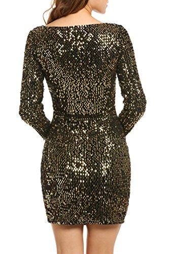 Meaneor dress matita paillettes donna maniche lunghe scollo a v abito festa di Natale Oro