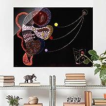 Bilderwelten Cuadro de cristal - Wassily Kandinsky - La Grasa y la Delgada - Expresionismo Apaisado 3:4, mural acristalado mural de pared decoración para pared decoración cristal impresión en cristal mural de pared de cristal fotomural de cristal, Tamaño: 70cm x 100cm