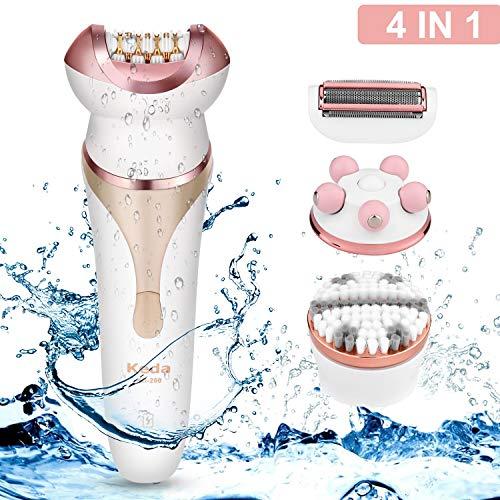 Elektrorasierer Damen WADEO 4 in 1 Epilierer Haarentferner, Wet und Dry, Elektrischer Rasierer zum Trimmen für die Körperbehaarung an den Beinen und Achseln, Wasserfest Wiederaufladbar
