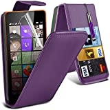 ONX3® (Purple) Microsoft Lumia 540 Dual Sim Hülle Abdeckung Cover Case schutzhülle Tasche Custom Made Fall nach Maß PU Leder Schlag mit Kredit / Bankkarte Slot Kasten Haut Abdeckung mit LCD Display Schutzfolie, Poliertuch und Mini versenkbaren Stylus Pen