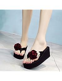 Sandalen High-heeled Mode Strand Schuhe (schwarz/blau/grau/rosa) stilvoll (Farbe : Grau, größe : 37)