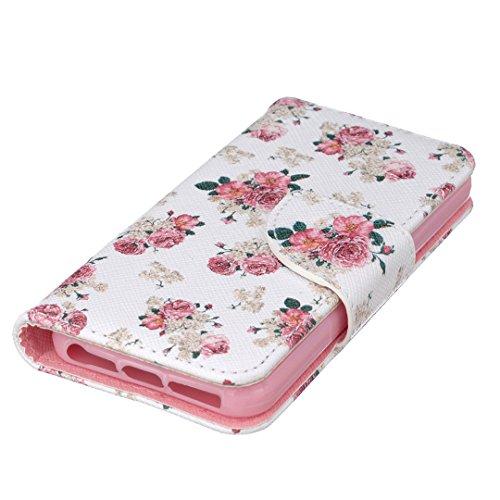 Apple iPhone SE Hülle im Bookstyle, Xf-fly® PU Leder Flip Wallet Case Cover Schutzhülle für Apple iPhone SE/5/5s Tasche Handytasche Schutz Etui Schale Handyhülle P-6