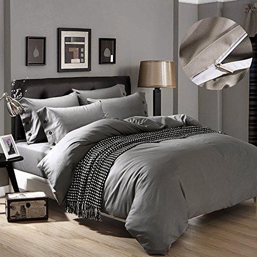 Für littlegrasseu Bettbezug für Doppelbett Bettwäsche Single Double Queen King Size matriminio Baumwolle grau weiß violett grün 150x 200180x 220200x 230 150 x 200 cm grau